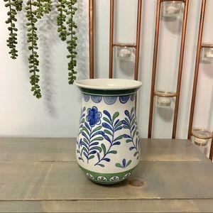 Floral Ceramic Vase White Green Blue Home Decor
